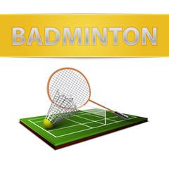 Wall Mural - Badminton shuttlecock and racket emblem