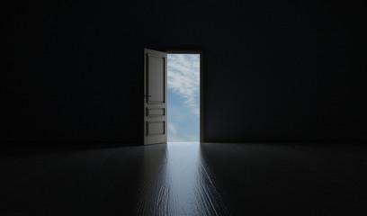 Offene Tür Richtung Himmel