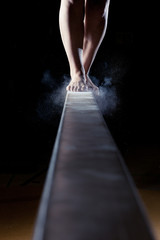 Printed roller blinds Gymnastics feet of gymnast on balance beam