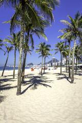 Copacabana beach with palms in Rio de Janeiro
