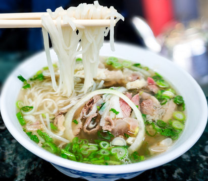Traditional Vietnamese Pho Beef Noodle Soup