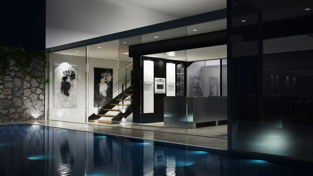 3D Luxus-Einfamilienhaus