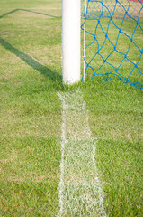 Football goal on back line with green grass field
