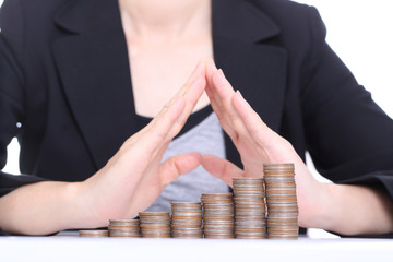 Women use hands for cover her money