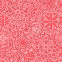 Lacy white circle flower mandalas seamless pattern on pink