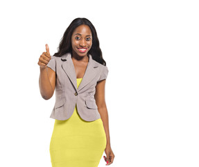 Happy African Woman Giving Thumbs Up