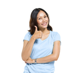 Asian Woman Giving Thumbs Up