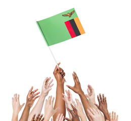 Diverse People Holding The Flag of Zambia