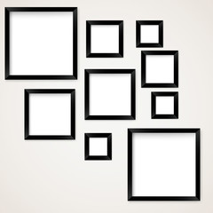 Set of vintage picture frames hanging