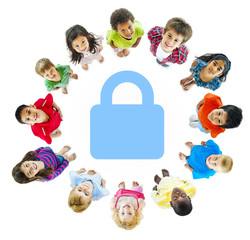 Diverse Group of Children around Security Symbol