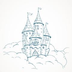 Vector Illustration of a Cartoon Castle