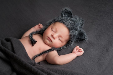 Sleeping Newborn Baby Boy with Wolf Hat