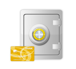 metal safe with mechanical code lock and credit card