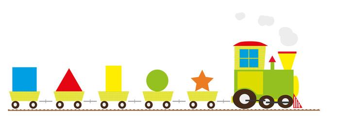 Basic shapes train for children - vectors