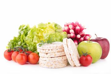 cereal cracker and vegetables