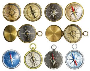 ten nautical isolated compass set