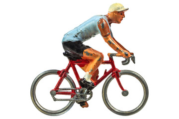 Vintage miniature sport cyclist isolated on white
