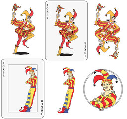 Joker playing card set. Isolated and inside frame card.