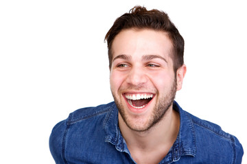 Handsome young man laughing