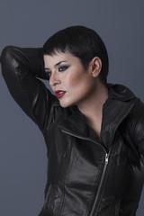 aspirations, sexy brunette biker with black leather jacket