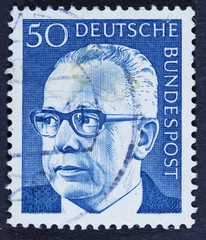 Post stamp showing portrait of Federal President Gustav Walter