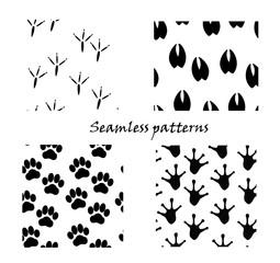 Animal tracks, seamless patterns