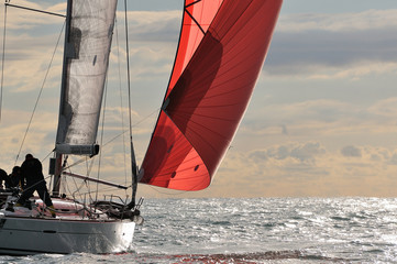 Photo Blinds Sailing red sail at sunset