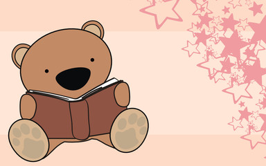 teddy bear baby reading cartoon wallpaper