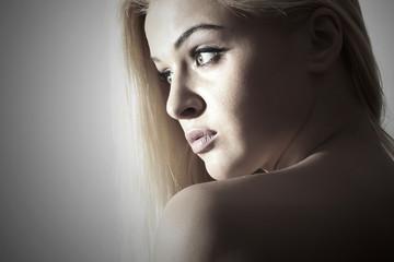 Beautiful Woman. Beauty Sexy Blond Girl.monochrome Portrait
