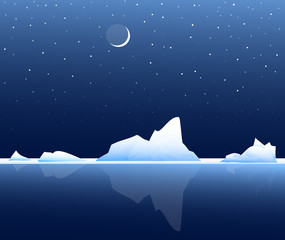 Iceberg at Night-Vector
