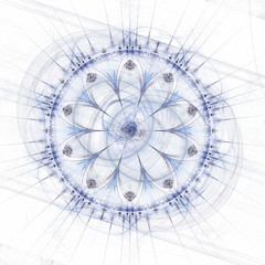 Abstract mandala or rose wheel, blue over white background