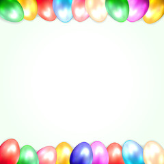White background with Easter eggs