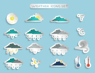 Weather forecast stickers or badges set