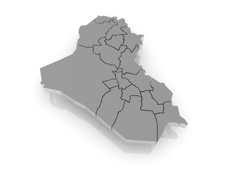 Map of Iraq. 3d
