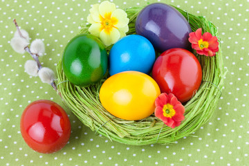 Easter Eggs on a Green Tablecloth