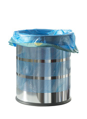 Empty metal recycle bin isolated on white