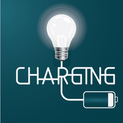 Idea charging vector illustration