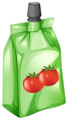 A tomato juice in a drinking pouch