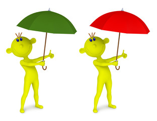 Small yellow man with an umbrella