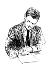 Illustration of a writing man. Vector illustration