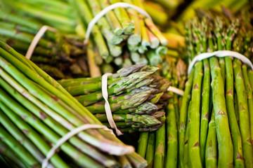 Fresh asparagus on the market