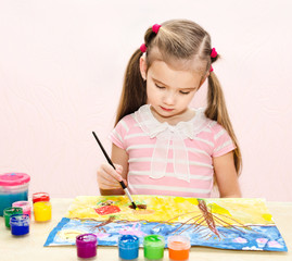 Cute little girl drawing with paint and paintbrush