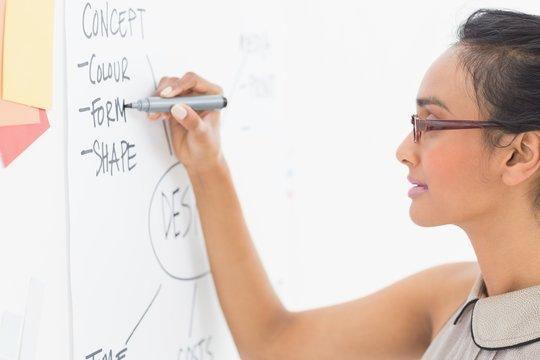 Designer writing on whiteboard