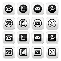 Contact buttons set - mobile, phone, email, envelope
