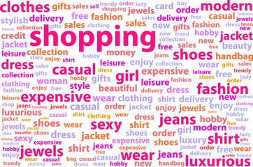 Shopping Word Cloud Concept Illustration