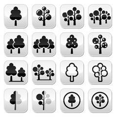 Trees, forest, park vector buttons set