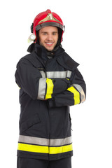 Portrait of smiling fireman.