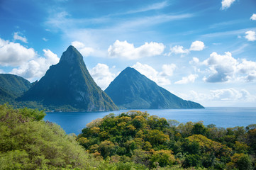 Papiers peints Caraibes Panorama of Pitons at Saint Lucia, Caribbean