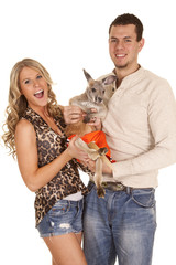 couple with kangaroo happy