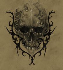 Tattoo skull over vintage paper with black tribal, design handma